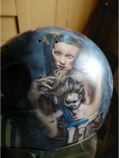 airbrushed custom painted Shark S500 helmet. stencil used to transfer image to helmet detail starting to emerge from layers been laid down using iwata airbrushes and createx paint