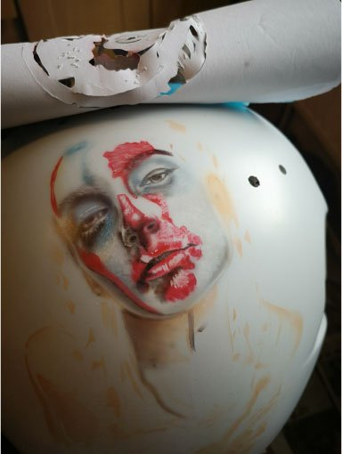 airbrushed custom painted Shark S500 helmet. stencil used to transfer image to helmet detail starting to emerge from layers been laid down with iwata airbrushes and createx paint