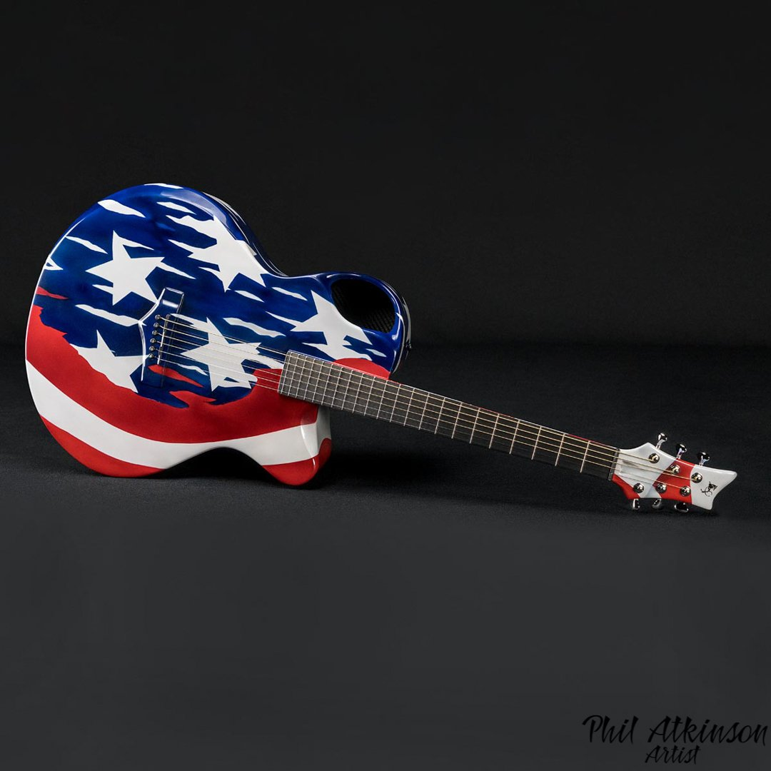 candy stars and stripes airbrushed custom painted guitar By Phil Atkinson Artist